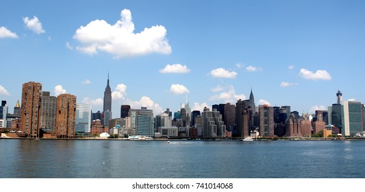 Manhattan Skyline with Empire State and Chrysler Buildings over Hudson River, New York City, USA, August 8, 2017