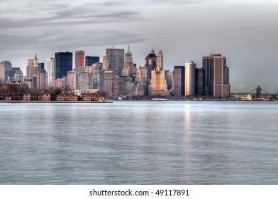 Manhattan skyline. HDR composite of 9 exposures taken at dusk