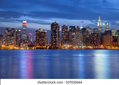 Manhattan Skyline. Image of the Manhattan skyline viewed from Queens at twilight.