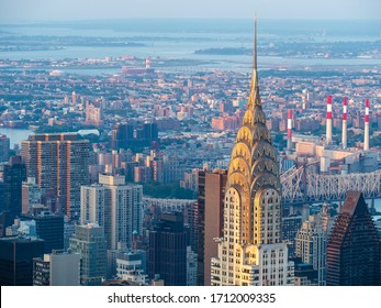Manhattan skyline including architectural landmark Chrysler Building in New York City, United States of America.