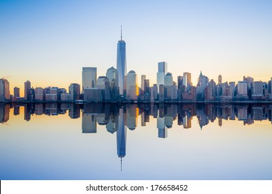 Manhattan Skyline from Jersey at twilight, New York City