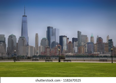 Manhattan Skyline from Liberty State Park Playground in NewJersey, New York City