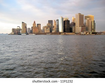 Manhattan Skyline From New York Bay