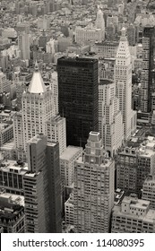 Manhattan skyline with New York City skyscrapers aerial view in black and white