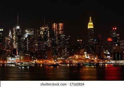 Manhattan skyline at Night Lights with clouds