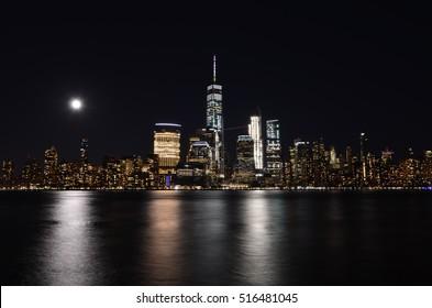 Manhattan skyline at night, NYC, USA.