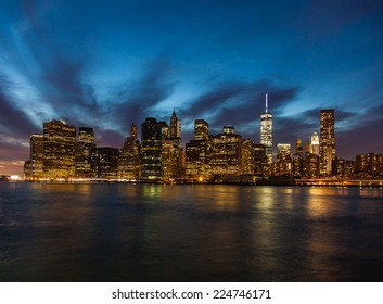 Manhattan skyline night shot