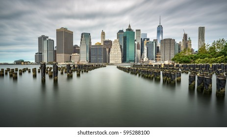 Manhattan skyline on a cloudy day