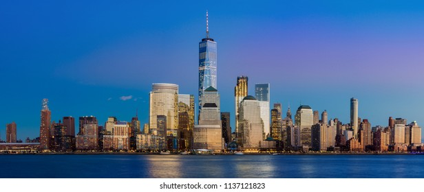 Manhattan skyline panorama at night , New York City