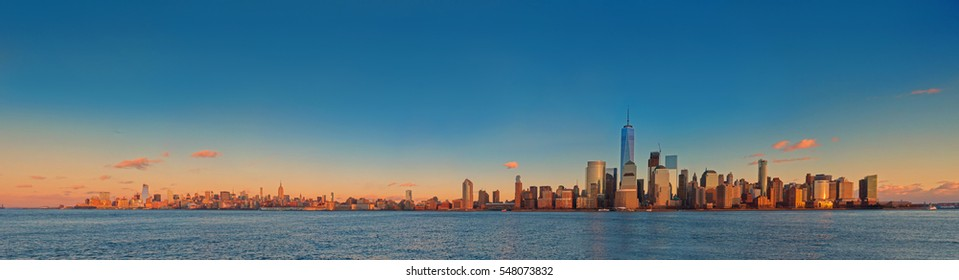 Manhattan skyline panorama at sunset , New York City