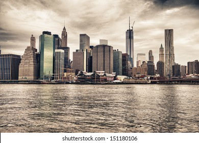 Manhattan skyline as seen from Brooklyn side - New York, NYC