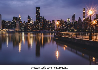 Manhattan skyline seen from the East River side in Queens, New York City