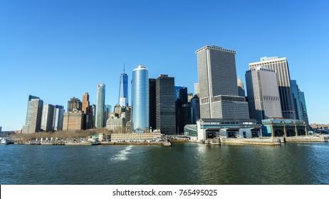 Manhattan skyline from the Staten Island public ferry.