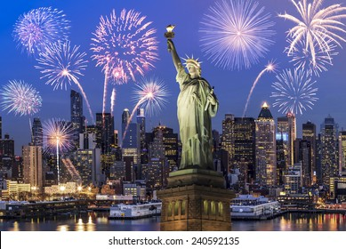 Manhattan Skyline, The Statue of Liberty fireworks at Night, New York City