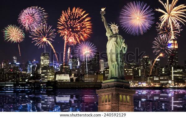 Manhattan Skyline, The Statue of Liberty fireworks at Night, New York City