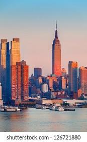 Manhattan Skyline at sunset