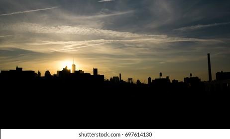 Manhattan Skyline at sunset from Brooklyn Navy Yard.