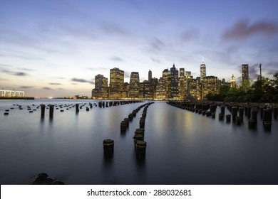 Manhattan skyline at sunset from Brooklyn, New York City
