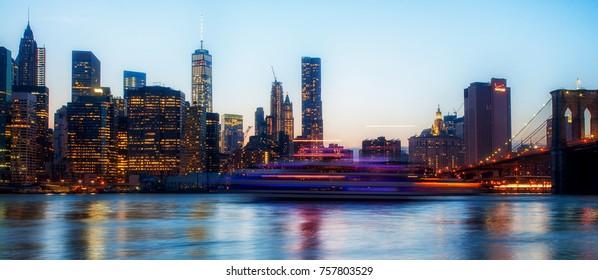 Manhattan skyline at sunset, New York, USA, circa May 2015