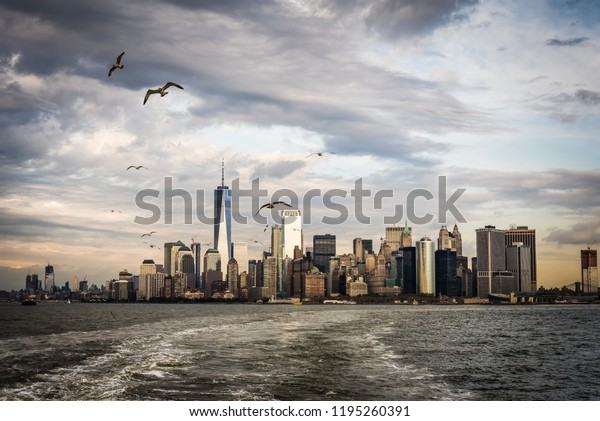 Manhattan skyline at sunset viewed from the Staten Island Ferry