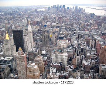 Manhattan Skyline From Top of Empire State Building -Downtown