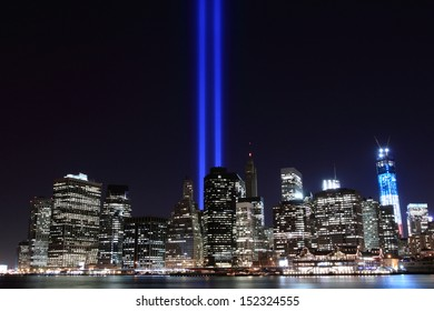 Manhattan skyline and the Towers of Lights (Tribute in Light) at Night, New York City