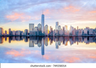 Manhattan Skyline  at twilight, New York City