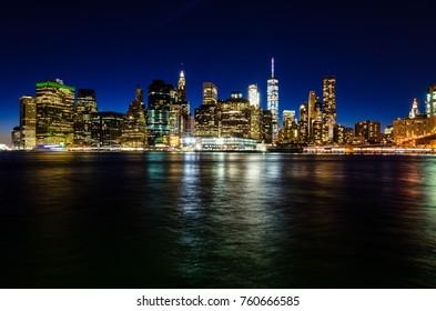 Manhattan skyline at twilight, New York