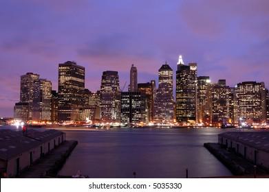 Manhattan skyline view at Night