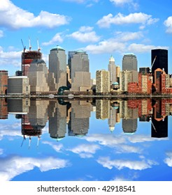 Manhattan skylines in a perfect symmetric reflection