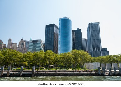 Manhattan towers rising above Battery Park, New York