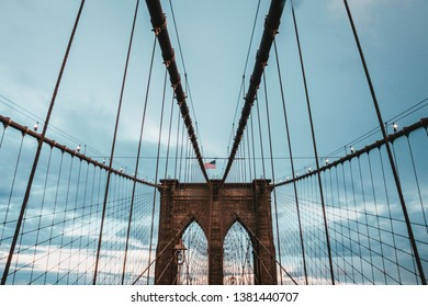 MANHATTAN, UNITED STATES - Aug 20, 2018: Low level shots of Brooklyn Bridge central tower