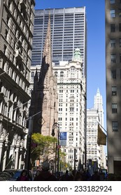 Manhattan, USA - November 3: View of the Financial District buildings in Manhattan, USA on November 3, 2014.