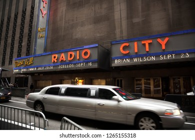 MANHATTAN, USA-JUNE 6, 2017: A limousine passes through the back of the City hall in Manhattan, USA on June 6, 2017