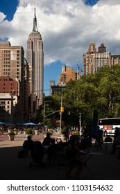 MANHATTAN, USA-June 9, 2017: Sunday on Manhattan. Walking through Mahattan direction to the Rockefeller building on june 9, 2017