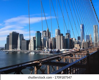 Manhattan view from the Brooklyn Bridge