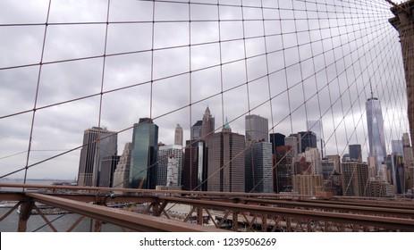 Manhattan view from Brooklyn Bridge, New York City, New York, USA