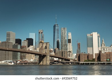 Manhattan view with the Brooklyn Bridge. New York City, USA