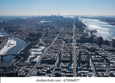 Manhattan view from harlem, helicopter view, NYC, USA.