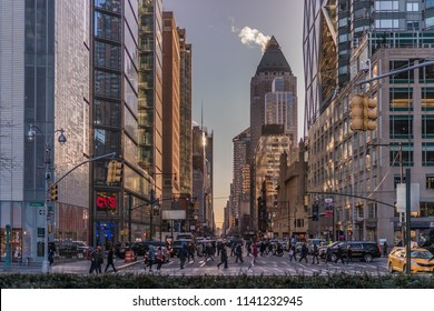 Manhattan,New York City - DEC 2017: beautiful view of New York city street of New York City and America.