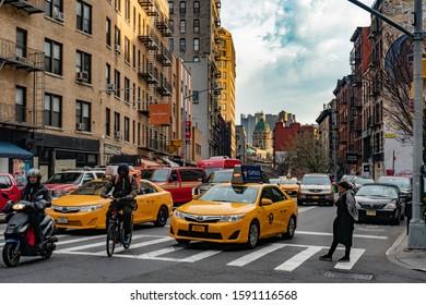 Manhattan,New York City - DEC 2017: Street of Manhattan New York City, Manhattan is the most densely populated of New York City, Winter season.