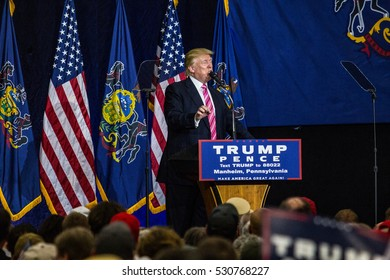 Manheim, PA - October 1, 2016: Donald J. Trump speaking during a campaign political rally appearance in Lancaster County.
