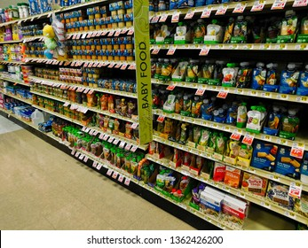 Manheim, Pennsylvania/United States - March 24 2019: A variety of baby food on shelves in Weis Markets grocery store