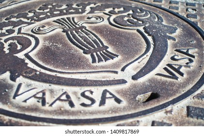 Manhole cover in the city of Vaasa
