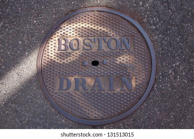 Manhole cover on the streets of Boston, MA