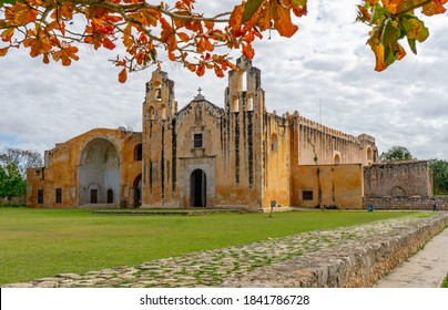 Mani, Yucatan, Mexico - February 8th 2018: The Convento de San Miguel Arcángel dates from 1549 and is typical architecture of this period. It is part of the Convent Route.