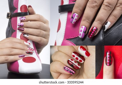 Manicure with bright geometric pattern