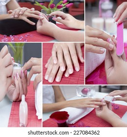 manicure collage consisting of four pictures: hands of a young woman receiving a manicure treatment by a beautician in a beauty salon. Cutting cuticles, nail filing, buffering and painting nails