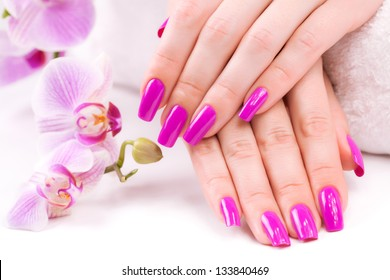 manicure with fragrant orchid and towel