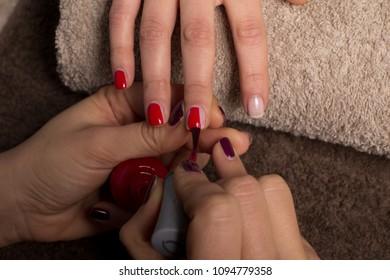 Manicure nail paint color at salon spa